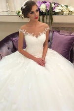Princess Off Shoulder A-line Long Ivory Wedding Dress with Lace