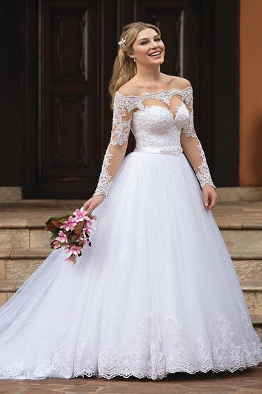 Princess Long Sleeves Off Shoulder White Wedding Dress with Lace