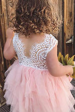 Cute Pink Tiered Flower Girl Dress with Lace Top