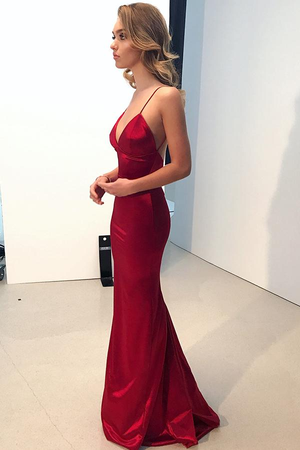 Straps Mermaid Red Long Evening Dress Backless