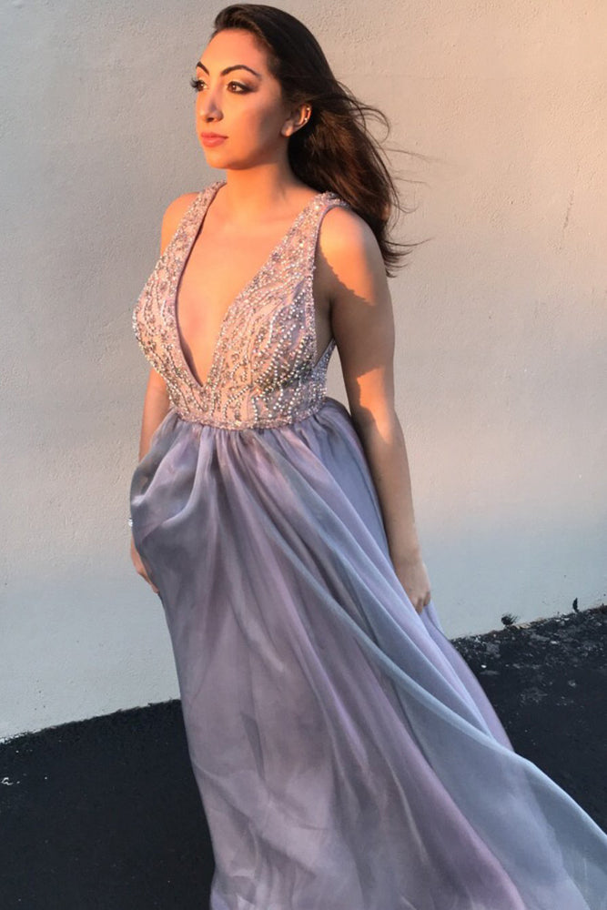Deep V-Neck Beading Long Prom Dress with Open Back