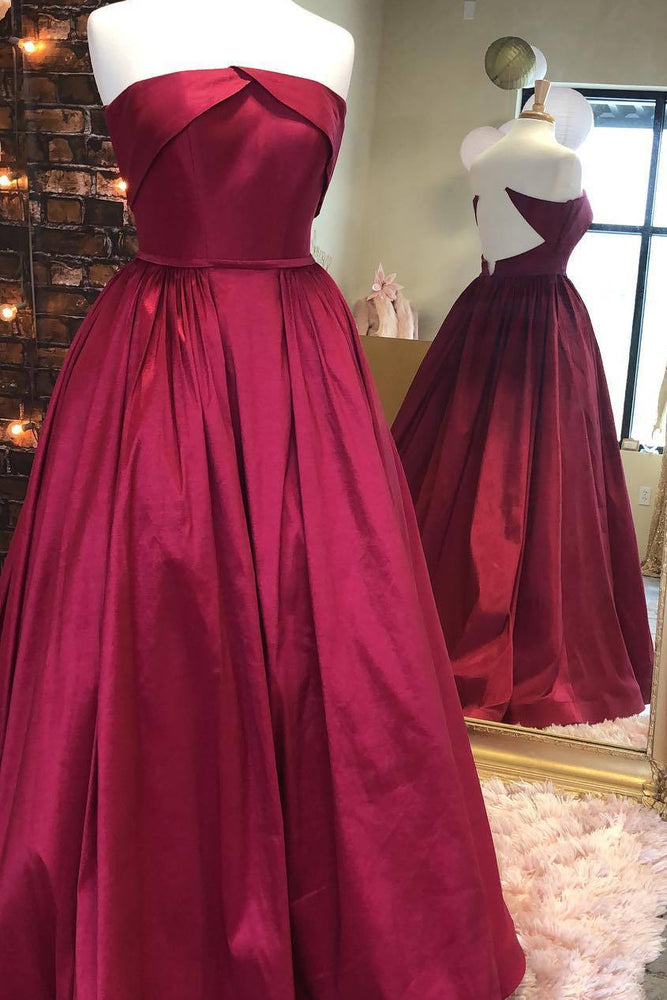 Strapless Wine Red Long Ball Gown