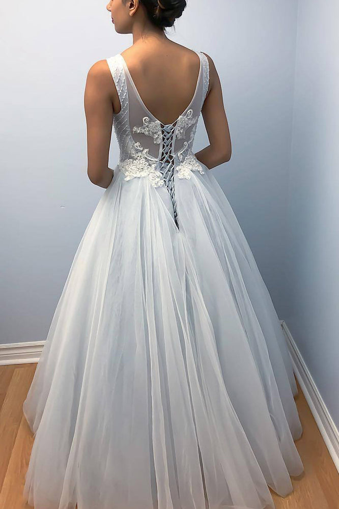 Long Lace-Up Back A-line Light Blue Wedding Dress with Appliques