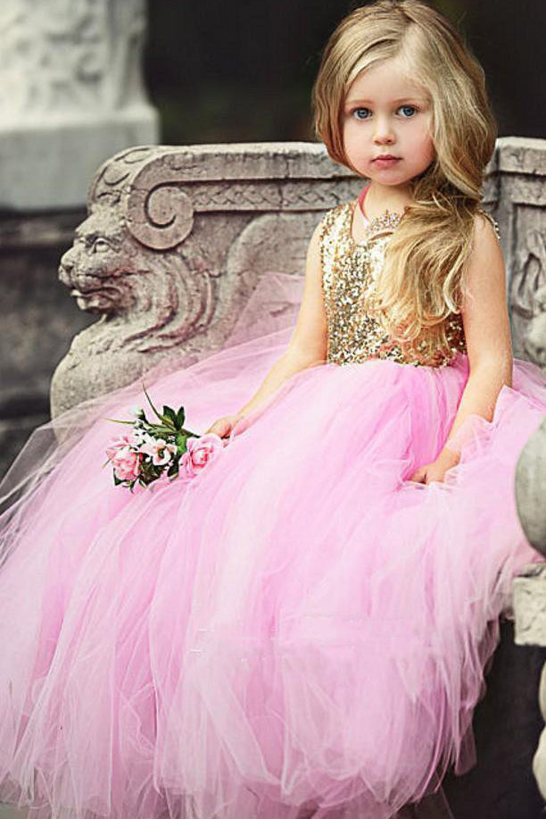 Ball Gown Pink Sequins Long Flower Girl Dress