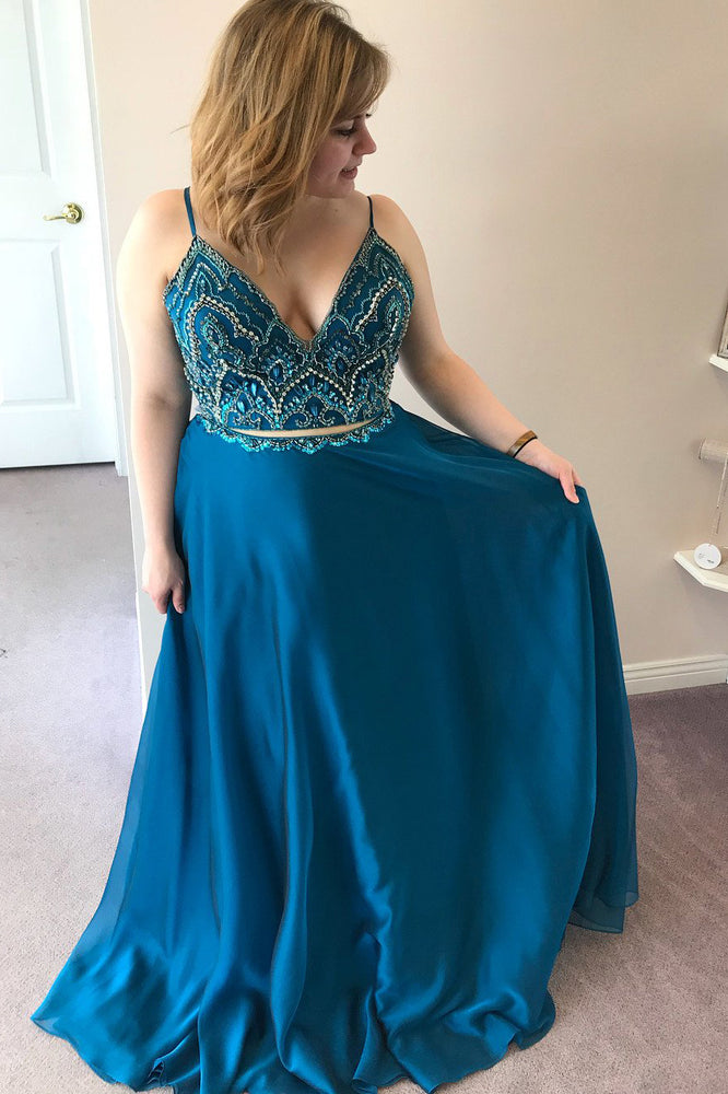 Elegant Two Piece Peacock Blue Satin Long Prom Dress