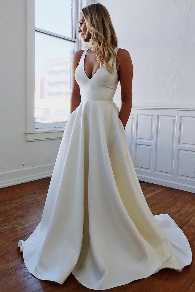 Long A-Line V-Neck White Wedding Gown with BowKnot