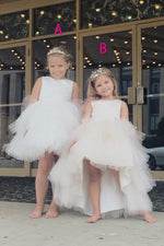 Two Styles Sleeveless Ruffled White Flower Girl Dress