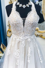 Long Illusion V-Neck A-line Halter Ivory Wedding Dress with Lace