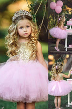 Cute Pink Tutu Skirt with Gold Sequins,Flower Girl Dress