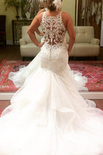 Long Deep V-Neck Mermaid Ivory Bridal Dress with Rufffles