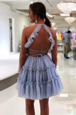 Cute V Neck Short Sky Blue Homecoming Dress
