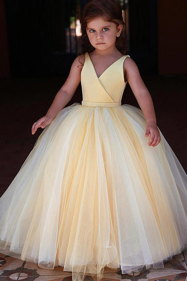 Ball Gown Yellow Long Flower Girl Dress