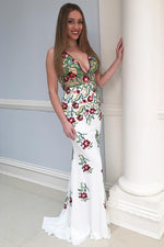 Mermaid Backless Floral Long Prom Dress with Embroidery