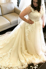 Appliques Plus Size Long Wedding Dress with Train