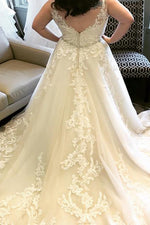 Plus Size Long V-Neck A-line Champagne Wedding Dress with Lace