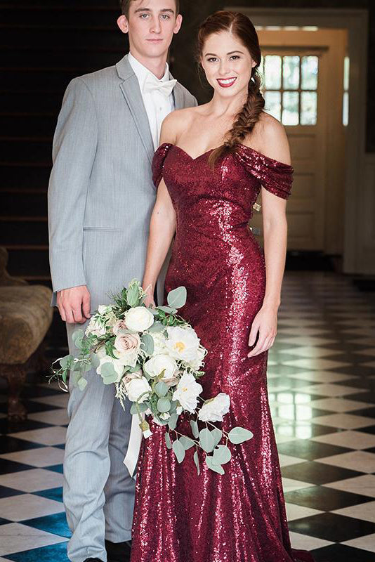 Mermaid Off-Shoulder Burgundy Sequins Long Bridesmaid Dress