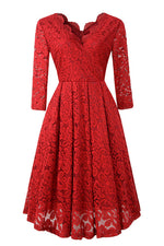 Long Sleeves Scalloped-Edge Lace Party Dress