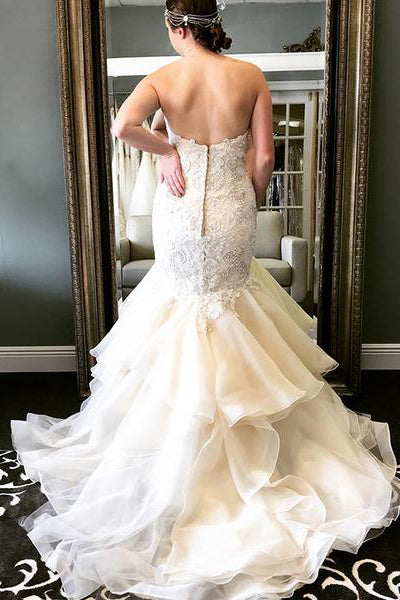 Long Ruffles Mermaid Sweetheart Ivory Wedding Dress with Lace