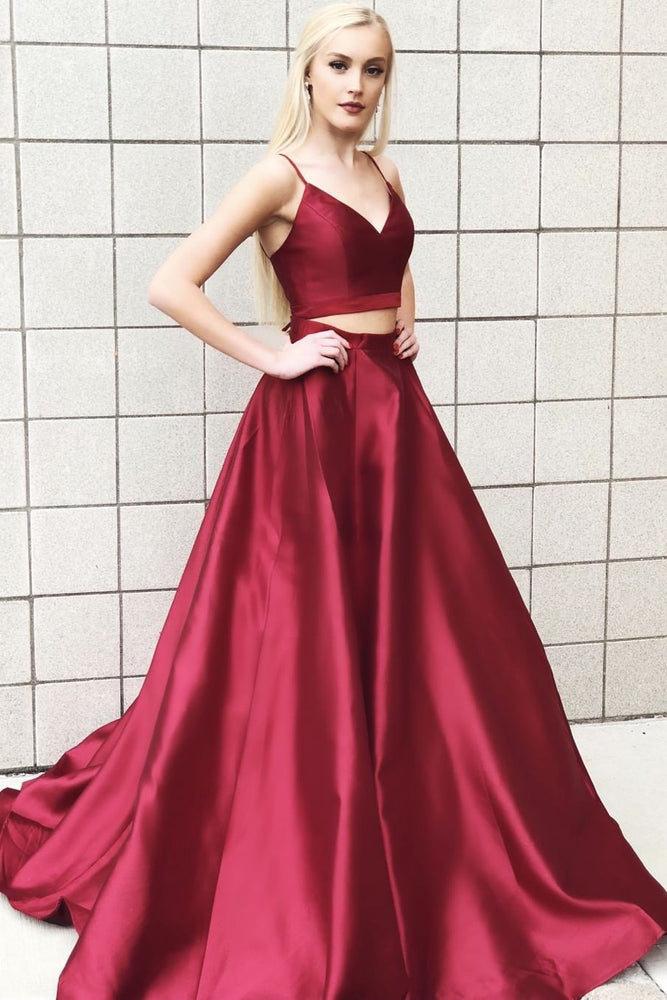 Two Piece Burgundy Long Satin Prom Dress