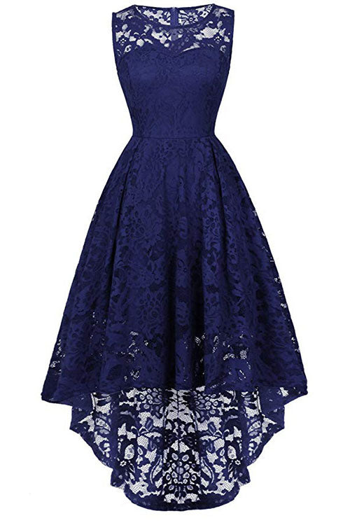 Sleeveless Hi-Low Lace Lavender Party Dress