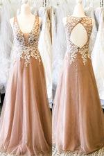 Hollow Out Back Appliqued Long Champagne Prom Dress with Pearls