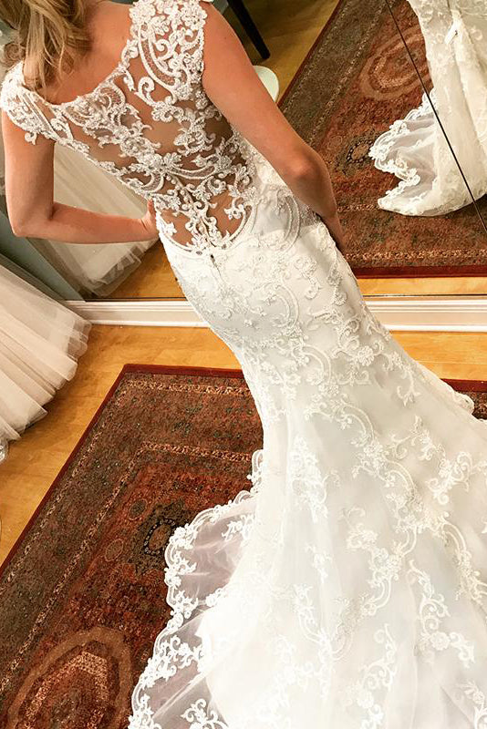 Long Mermaid Cap Sleeves Ivory Wedding Dress with Lace