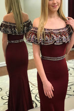 Luxurious Mermaid Burgundy Formal Dress with Off Shoulder