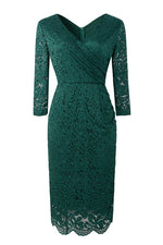 V-Neck Long Sleeves Emerald Green Party Dress