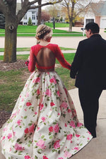 Two Piece Long Sleeves Floral Prom Dress