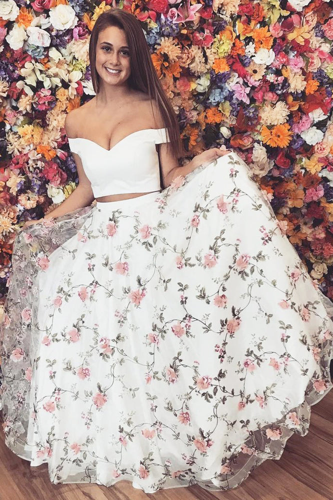 Princess Off Shoulder Two Piece Floral Long Prom Dress