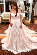Long A-line Off Shoulder Ivory Wedding Dress with Lace