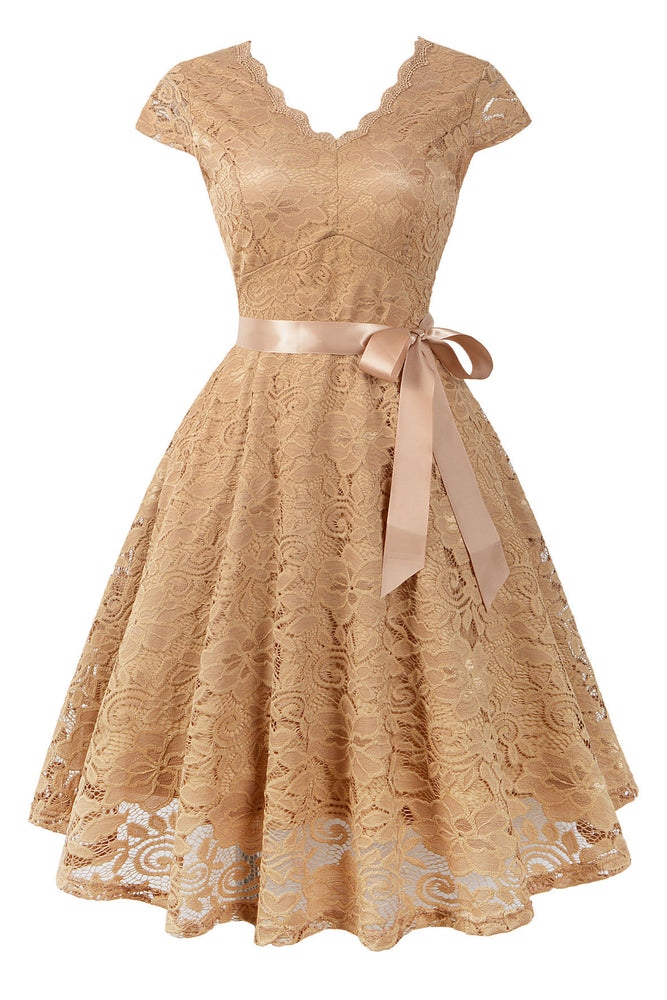 Cap Sleeves Lace Beige Short Party Dress