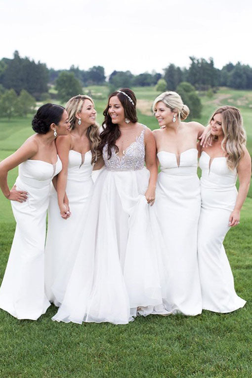 Strapless Mermaid White Long Bridesmaid Dress