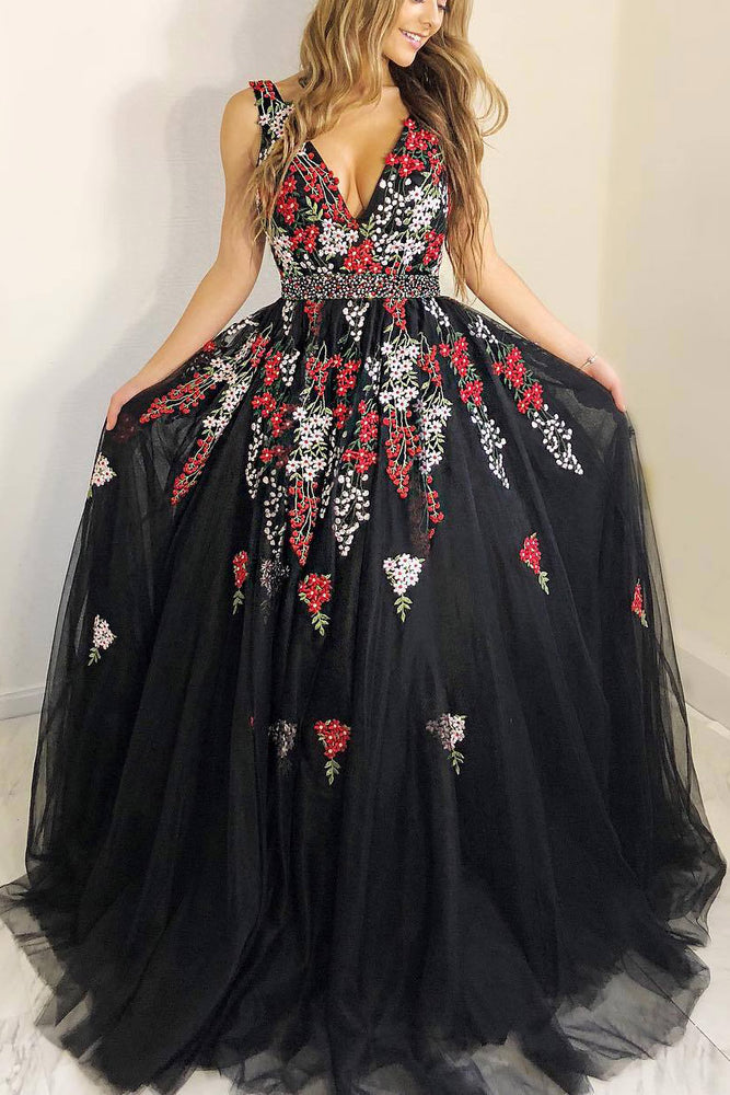 Princess A-line Black Long Prom Dress with Embroidery
