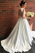 V-Neck Sweep White Wedding Gown with Open Back