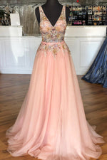 Pearl Pink Tulle Long Prom Dress with Beading Flowers