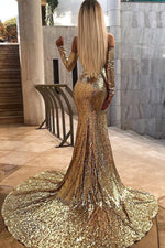 Luxurious Long Sleeves Gold Sequins Evening Dress