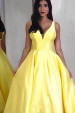 Simple Long Satin Yellow Prom Dress with Pockets