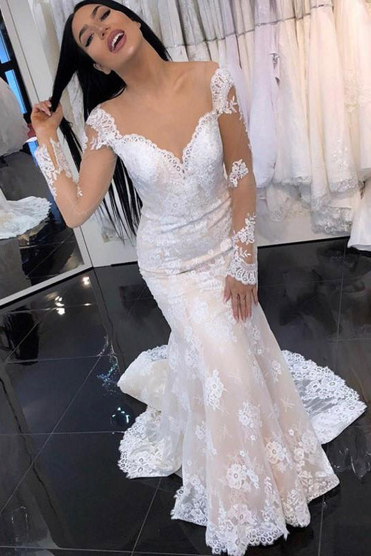 Princess Long Sleeves Mermaid V-Neck Ivory Wedding Dress with Lace