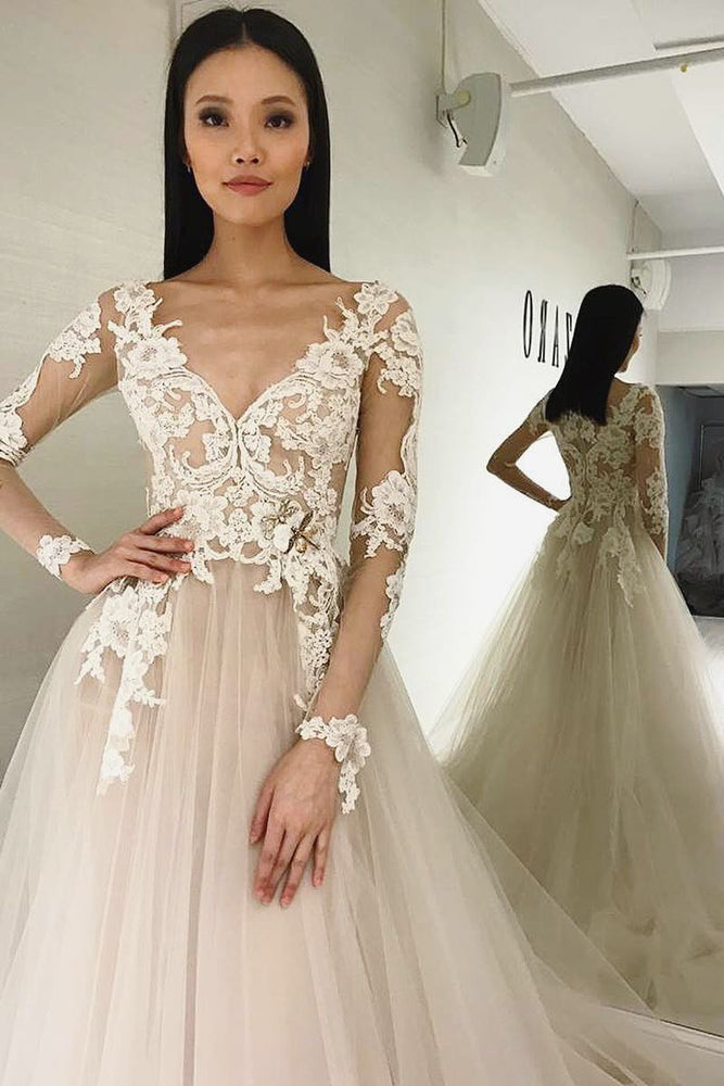 Long Sleeves A-line V-Neck Ivory Wedding Dress with Appliques