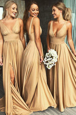 Gold V Neck Long Bridesmaid Dress with Slit