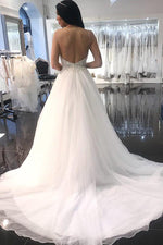 Long Spaghetti Strap A-line White Wedding Dress with Beads