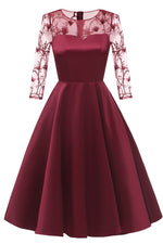 Illusion Sleeves Burgundy Satin Party Dress with Lace