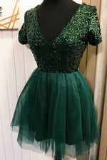Sparkly V-Neck Dark Green Homecoming Dress with Short Sleeves