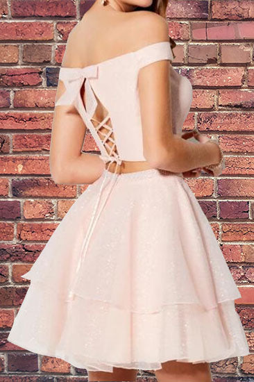 Princess Two Piece Short Pink Homecoming Dress with Pockets