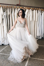 Long Straps A-line V-Neck White Wedding Dress with Beads