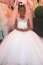 Ball gown V-Neck Long White Flower Girl Dress