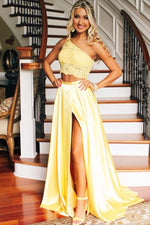 One Shoulder Yellow Two Piece Prom Dress with Slit