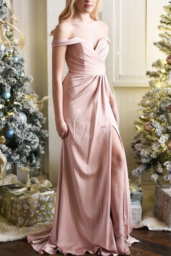 Princess Off the Shoulder Pink Long Pom Dress with Slit