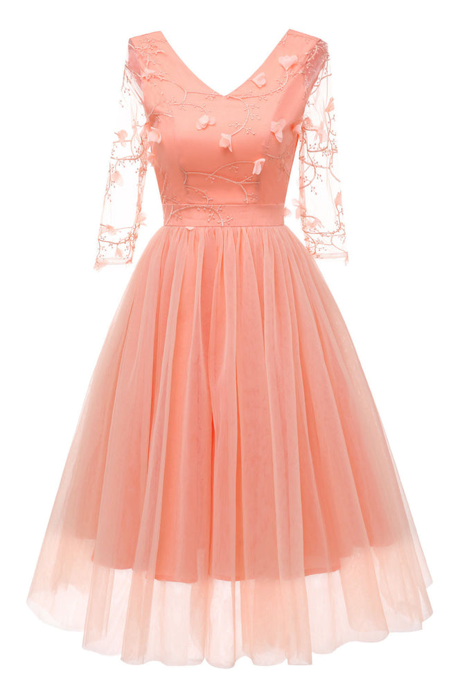 Illusion Sleeves Pearl Pink Chiffon Party Dress